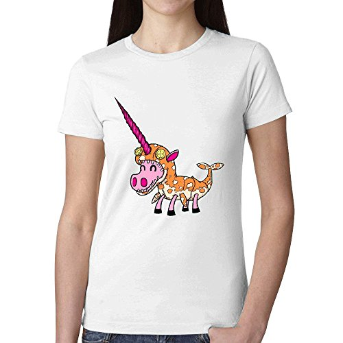 [Tony Arden Unicorn In Narwhal Costume Woman's T shirt White] (Zombie Ribs Costume)