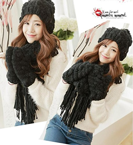 Amazon.com: SALY Ladies Winter Lovely Thick Warm Scarves Hat Gloves 3 pcs, Black: Sports & Outdoors