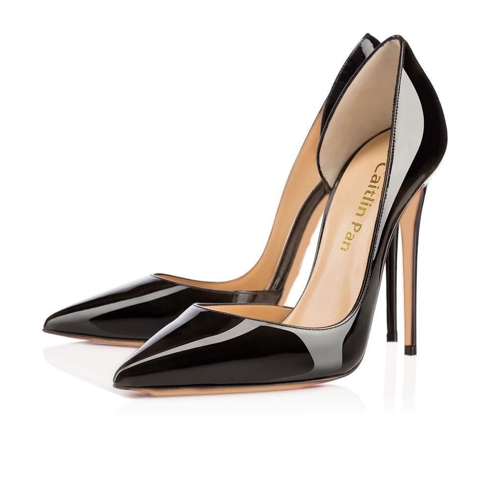 Caitlin 19393 Pan Femmes EscarpinsTalons Hauts/10 Slip Slip on Bout Pointu/Bout Ouvert Semelle Rouge 6,5CM/10 CM/12 CM Pompes Talon Aiguille Chaussures de Bal Noir-12cm/Semelle Rouge 5d5254b - shopssong.space