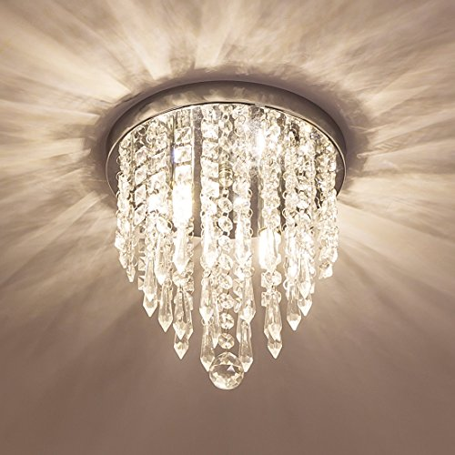 Lifeholder Mini Chandelier, Crystal Chandelier Lighting, 2 Lights, Flush Mount Ceiling Light, H10.4'' x W8.66'' Modern Chandelier Lighting Fixture for Bedroom, Hallway, Bar, Kitchen, Bathroom (Crystal Ceiling Chandelier)