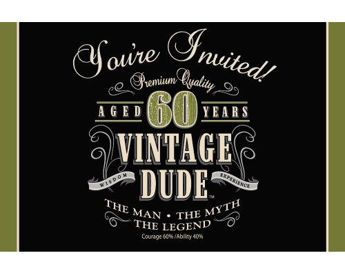 (8-Count Party Invitations, Vintage Dude 60th)