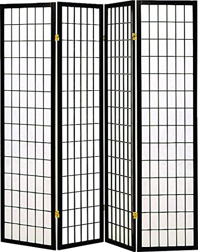 Legacy Decor 4 panel Shoji Screen Room Divider, (Black Room Divider)