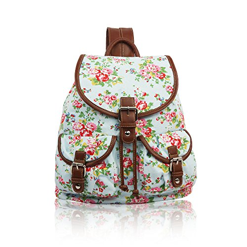 YourDezire - Mochila de Lona unisex - adultos Light Blue/Floral