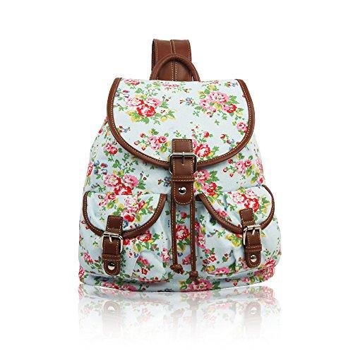 YDezire? Kid/Teenager Multi Cats Canvas Backpack Rucksack Shoulder Bag-Back To School Light Blue/Floral