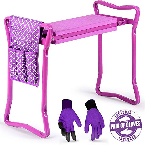 Garden Kneeler and Seat - Protects Your Knees, Clothes from Dirt & Grass Stains - Foldable Stool for Ease of Storage - EVA Foam Pad - Sturdy and Lightweight - Bench Comes with A Free Tool Pouch (Garden Seats Stone)