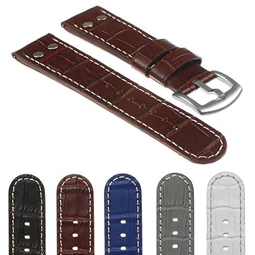 DASSARI Quick Release Croc Embossed Mens Leather Pilot Watch Band Strap w/Rivets 18mm 20mm 22mm 24mm Croc Embossed Strap Watch