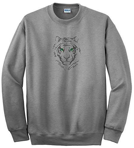 bellus Gildan Women's Heavy Blend Crewneck Sweatshirt Custom Embroidered Sophisticated a Cut Above. Stiched, Not Inked, Creating Quality That Shows You Care Small Tiger Head Tiger Athletic Sweatshirt