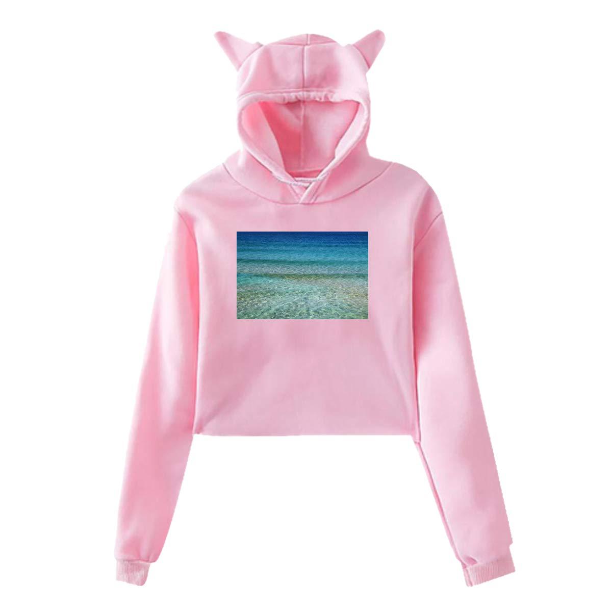 Personality Girl Cat Ears Umbilical Hoodie Fashion Sweatshirt Sweater Pink