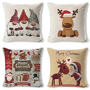 Gudotra 4 pcs Taie d'oreiller Père de Noël Taie d'oreiller Coussin en Lin de Coton Noël pour Canapé Décoratif 45x45cm