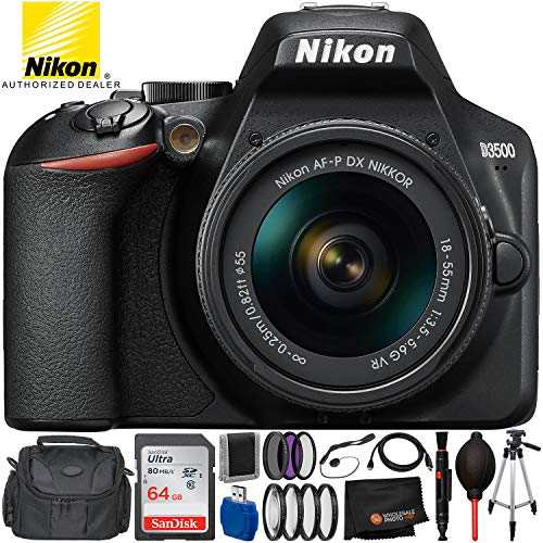 Nikon D3500 DSLR Camera w/AF-P DX 18-55mm f/3.5-5.6G VR Lens (1590)- USA Warranty – 12PC Accessory Bundle Includes 64GB SD Memory Card + 3PC Filter Kit (UV, CPL, FLD) + Carrying Case + More