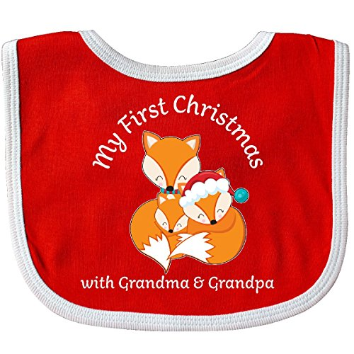 First Time Grandpa Gifts - Inktastic - My First Christmas with Grandma and Grandpa- cute Baby Bib Red/White