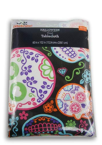 Vinyl Tablecloth 60x102 Halloween Sugar Skulls Theme