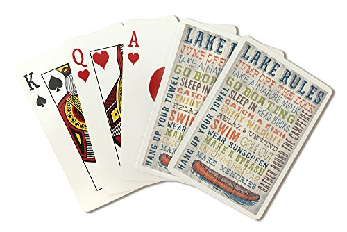 Lake Rules - Rustic Typography (Playing Card Deck - 52 Card Poker Size with Jokers) by Lantern Press
