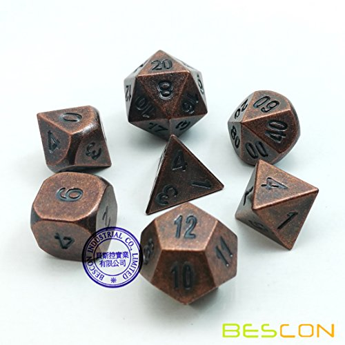 VEBE Antique Copper Solid Metal Polyhedral D&D Dice Set of 7 Old Copper Metal RPG Role Playing Game Dice 7pcs
