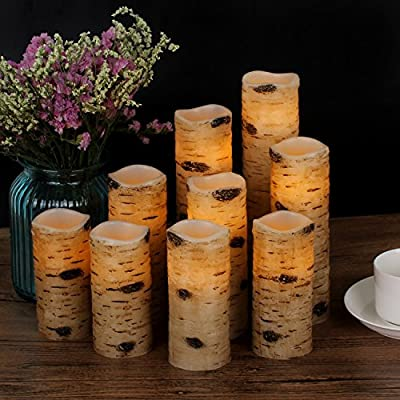 "Antizer Flameless Candles Battery Operated Candles Birch Bark Effect 4"" 5"" 6"" 7"" 8"" 9"" Set of 9 Ivory Real Wax Pillar LED Candles with Real Wax Pillar With 10-key Remote Control 2/4/6/ 8 Hours Timer"