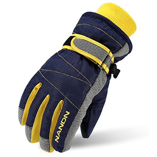 Magarrow Kids Winter Warm Windproof Outdoor Sports Gloves For Children and Adults (Dark Blue, Medium (Fit kids 8-10 years old))