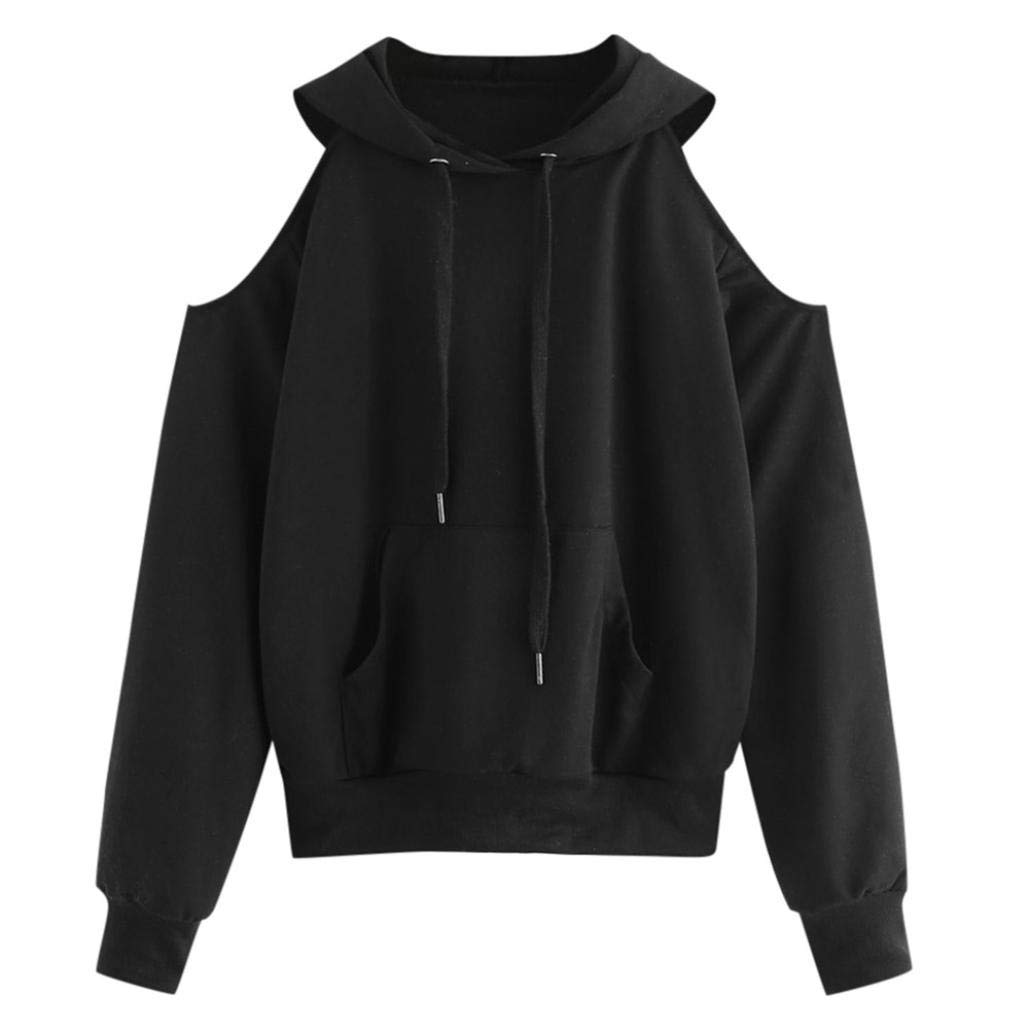 Spbamboo Women Long Sleeve Casual Off Shoulder Hoodie Sweatshirt Pullover Blouse