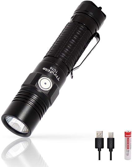 para el hogar ThruNite TC12 V2 Linternas LED Interfaz Micro-USB recargable Linterna t/áctica CREE XP-L V6 LED linterna con bater/ía 18650 bater/ía incluida viajes y al aire libre CW