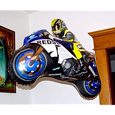 Fantastic Floatables Anti-Gravity Hovering Flying Floating MOTOCROSS RACE BIKE Blue 36 inch Toy Pet Balloon Party Favor: Toys & Games