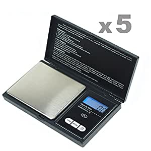 "GHP 5 Pcs 3""x5""x0.75"" Black / Silver 500gx0.1g Digital Pocket Portable Jewelry Scale"