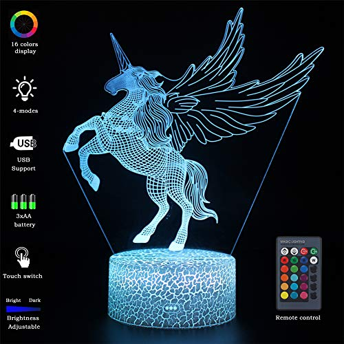 VANSIHO 3D Optical Illusion Night Light 7 LED Color Changing Lamp Gift for Kids with Remote Crackle White Base (Wing Unicorn-1)