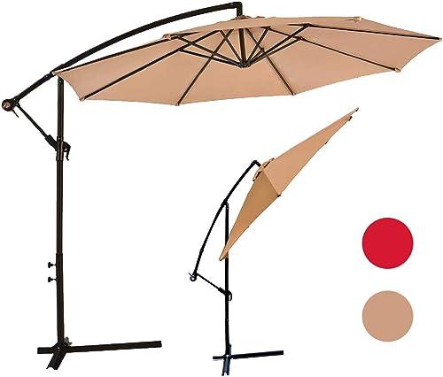 Cantilever Patio Umbrella,10ft Market Umbrella Hanging Offset Patio Umbrella Outdoor Table Umbrella,UV Protected Polyester Retractable Umbrella w/Tilt and 360 Rotation