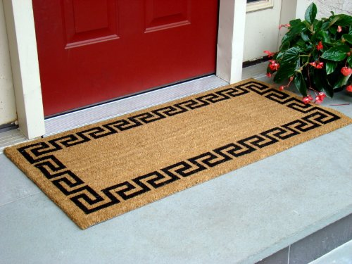 Kempf Greek Key Natural Coco Doormat, 22 by 47 by 0.5-Inch (Long Doormats)
