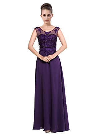 LOVEBEAUTY Womens Chiffon Long Evening Dress Prom Dress Purple US 10