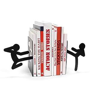 MUSTARD Bookends metal for shelves I Storage for Books, DVDs, CDs I Funny Gift idea for Men & Women I Stationery & Office Supply - Stickmen