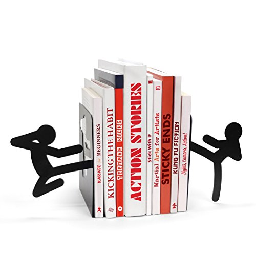 MUSTARD Bookends metal for shelves I Storage for Books, DVDs, CDs I Funny Gift idea for Men & Women I Stationery & Office Supply - Stickmen (Holder Ideas Dvd)