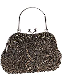 2017 Vintage Butterfly Beaded Kissing Lock Evening Clutch Metal Top-handle  Prom Formal Bag for faee20d5dcdf