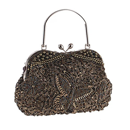 Womens Vintage Jewels Beaded Evening Clutch Bag Top-handle Prom Party Purse Formal Handbag(Coffee)
