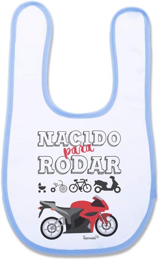 SUPERMOLON Babero bebé Nacido para rodar Azul celeste con velcro