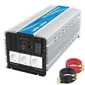 3000W Wechselrichter 12V auf 230V Reiner Sinus Spannungswandler Umwandler-Inverter Konverter mit Fernbedienung LED…