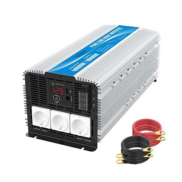 51XPJ%2Bw5S6L 3000W Wechselrichter 12V auf 230V Reiner Sinus Spannungswandler Umwandler-Inverter Konverter mit Fernbedienung LED…