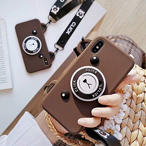 Ultra Thick Soft Silicone Brown Bear Camera Shaped Case for iPhone Xs Max 6.5 with Neck/Crossbody Strap Length Adjustable Cute Lovely Protective Gift Kids Teens Girls Boys Son Daughter
