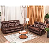 Harper&Bright Designs Sectional Recliner Sofa Set Living Room Reclining Couch (Loveseat & 3-Seater Sofa, Brown)