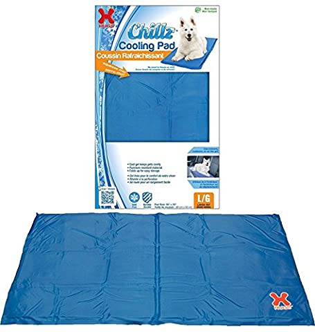 Hugs Pet Products Chillz Pad Comfort Cooling Gel Pet Pad, Blue, Large (36