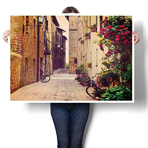 Wall Art Scenery Oil Painting,Street in Pienza,Tuscany,Italy On Canvas,20