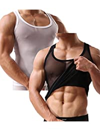 2-Pack Mangopop Men's Mesh Fitted See Through Tank Top Shirts