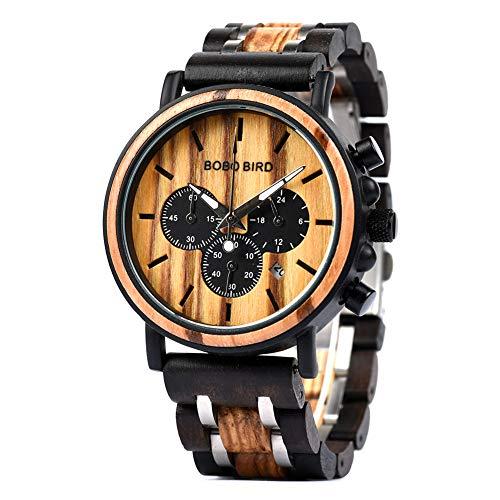 BOBO BIRD Mens Wooden Watches Luxury Lightweight Wood Watch Multi-Functional Display Men