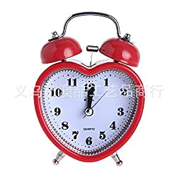 Playing Bell Alarm Clock 3 Inch Luminous Silence Metal Bell Bell Creative Promotional Gifts Heart-shaped red