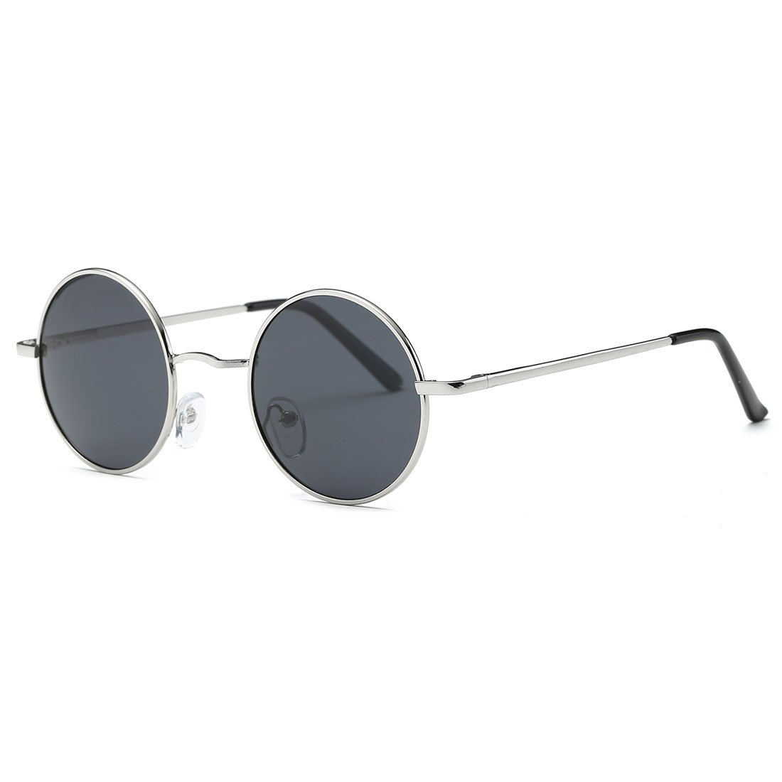 AEVOGUE Polarized Sunglasses Round Lens Metal Frame Retro Unisex Glasses AE0518 (Sliver&Black, 47) by AEVOGUE