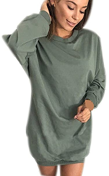 Vestidos Mujer Vestido Sudadera Ronda Cuello Manga Larga Sudaderas T Shirt Tops Vestir Casual Color Puro