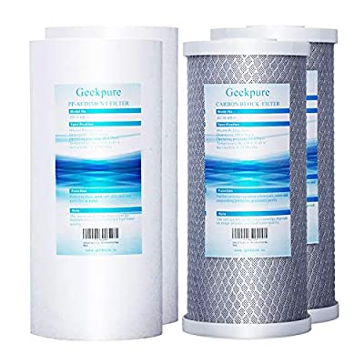 """Geekpure Big Blue 4.5""""x 10"""" PP Sediment and Carbon Block Replacement Filters for Whole House Water Filtration System -Pack of 4"""