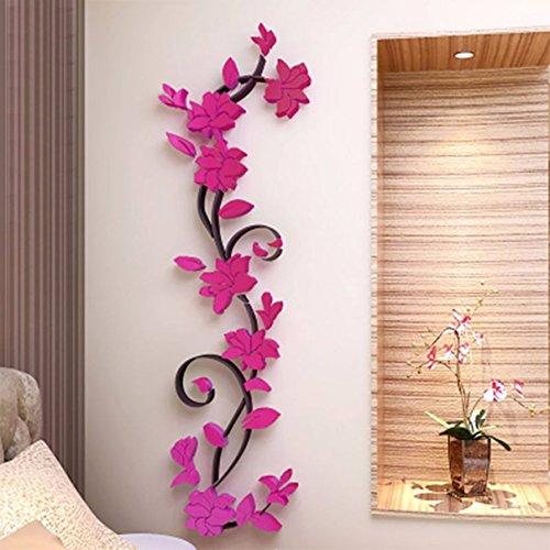 1 Pack 3D Vase Flower Tree Wall Sticker Vinyl Mural Art Stickers Decal Living Room Bedroom Girls Nursery Excelling Popular Dream Butterfly World Moon Star Ocean Sun Flowers Home Decor, Type-04