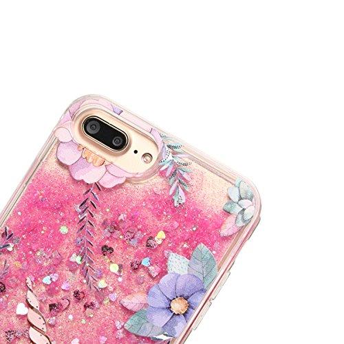 Funda iPhone 7 Plus, Caselover 3D Bling Unicornio Arena Movediza Lentejuelas Transparente TPU Suave (Borde) PC Rígida (Trasera) Carcasa para iPhone 7 Plus Glitter Líquido Brillar Cristal Sparkle Prote Rosado 1