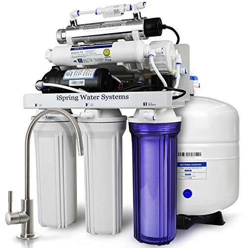 iSpring RCC1UP 6-Stage Maximum Performance Under-Sink Reverse Osmosis Drinking Water Filtration System with Booster Pump and UV Light Sterilizer by iSpring