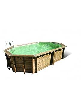 Swimming Pool Wood Tonga Ubbink 610 X 400 X 120 Elongated Kit Liner Blue
