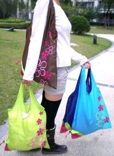 BonaMart® - Borse da shopping ecologiche, pieghevoli e riutilizzabili, con sacca a fragola, 10 pezzi, colori assortiti